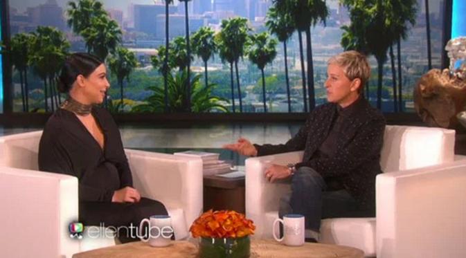 Kim Kardashian saat tampil dalam acara yang dipandu Ellen DeGeneres [foto:eOnline]