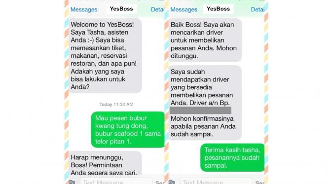 YesBoss, aplikasi asisten pribadi virtual Anda yang dapat membantu dalam memesan makanan dan tiket.