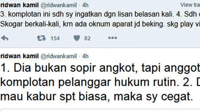 Ridwan Kamil melalui akun Twitter, @ridwankamil, membantah telah menampar sopir angkot. (www.twitter.com)