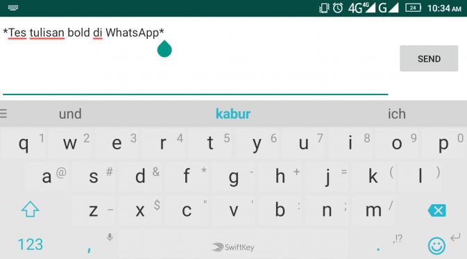Tes tulisan bold di WhatsApp. Liputan6.com/Mochamad Wahyu Hidayat