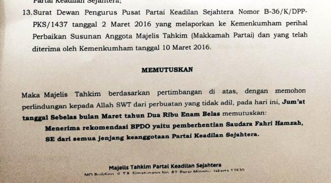 Surat PKS pecat Fahri Hamzah (ist)