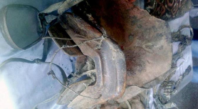 Sebuah mumi Mongolia berusia 1500 tahun ditemukan di pegunungan Altai. (Sumber Museum Khovd via news.com.au)