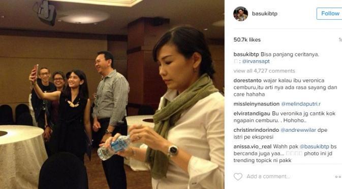 Foto Ahok dan Dian Sastrowardoyo vs istri Ahok, Veronica Tan, yang menjadi viral di dunia maya [foto: instagram]