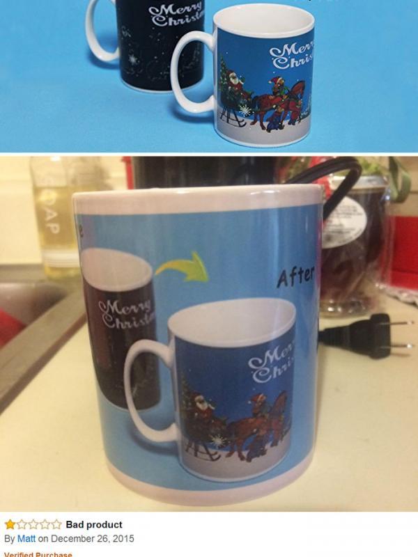 Kirain mug-nya bisa berubah kalau diisi air, ternyata malah begini. Sedih. (Via: boredpanda.com)