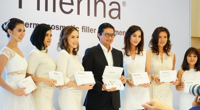 Acara peluncuran Fillerina, dermo cosmetic filler treatment for at home use di Hotel Kempinski, Jakarta pada Rabu (7/9/2016).