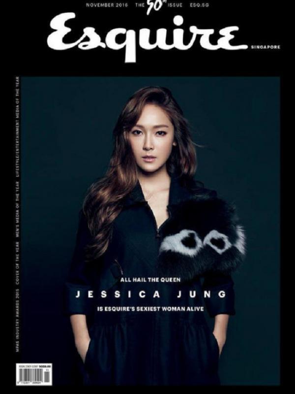 Jessica jung menjadi sampul majalah Esquire Singapur. (via. Soompi)