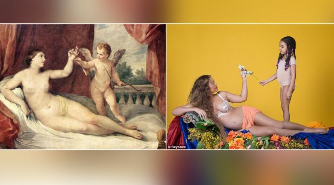Foto kehamilan Beyonce vs lukisan dewi Venus. (via Dailymail)