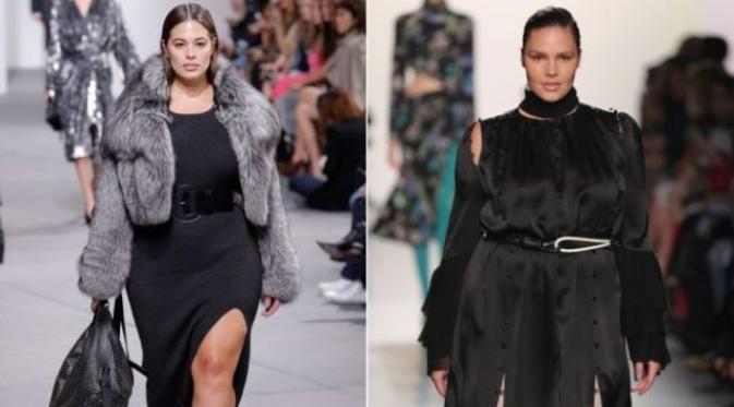 Ashley Graham dan Candice Huffine tampil mengenakan busana plus size di atas panggung New York Fashion Week 2017. Sumber: bbc.com.