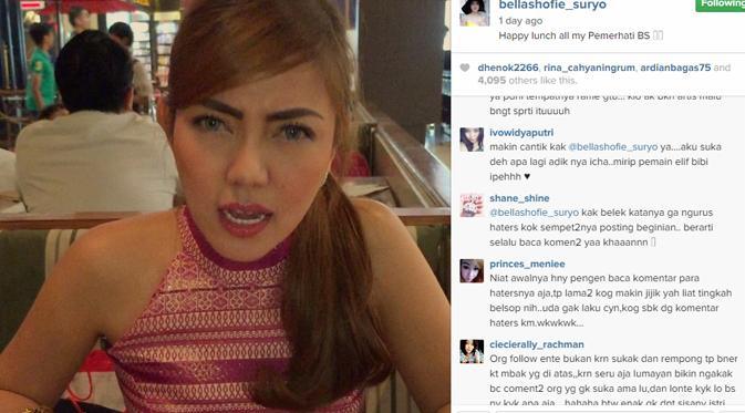 Mimik Bella Shofie saat memberi pesan di video buat haters. (foto: instagram.com/bellashofie_suryo)