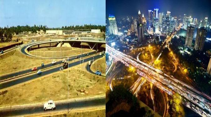 Jembatan Semanggi tempo dulu dan sekarang